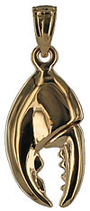 14kt 3D Maine Lobster Claw jewelry charm