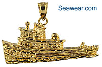 nautical gold jewelry tug boat charm pendant