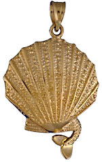 14k mermaid sitting on gold scallop shell