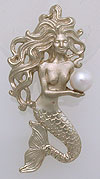 white gold mermaid jewelry pendant