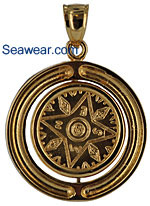 14kt gold compass rose jewelry pendant