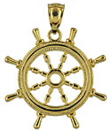 3D ships wheel in 14kt gold one inch across