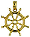 3D small ships wheel in solid 14kt gold