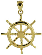 ships wheel gold pendant