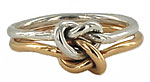 true lovers knot ring in 14k silver platinum