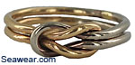 14 gauge 14kt two tone sailors love knot reef square knot ring