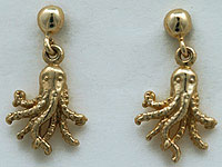 14kt post and ball drop octopus earrings