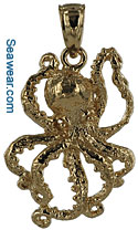 medium 14kt gold octopus charm