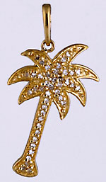 14kt palm tree necklace pendant with diamonds