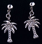 white gold diamond ball drop dangle palm tree earrings