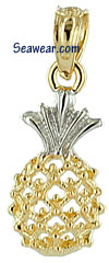 14kt two tone gold see thru pineapple charm