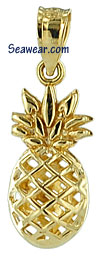 14kt small full round see thru pineapple charm