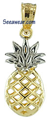 14kt two tone small see thru full round 3d pineapple charm