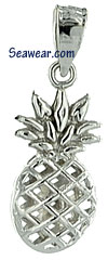 small full round see thru pineapple charm in white gold