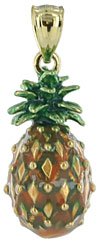 enamel painted 14kt pineapple jewelry pendant charm