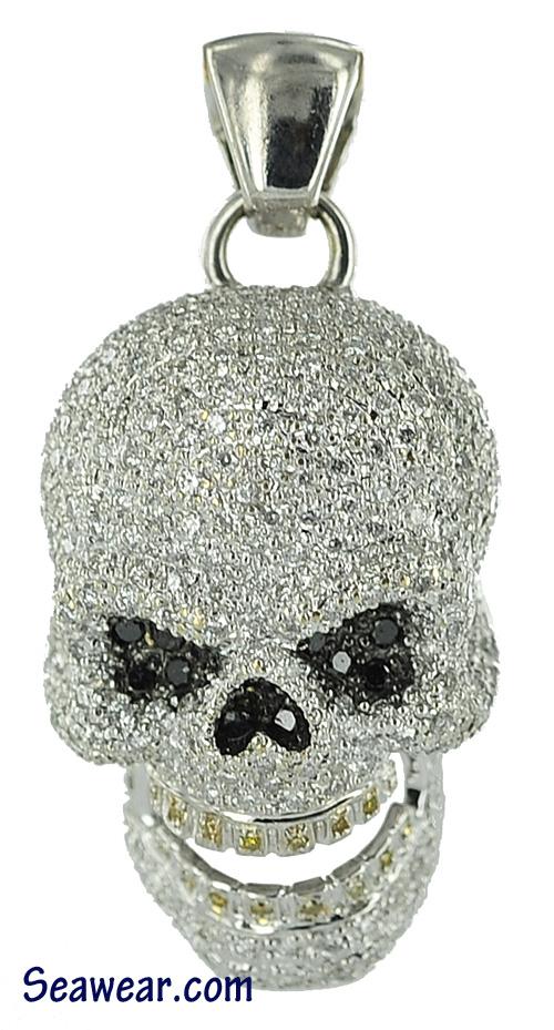 Gold Diamond Skull Earrings