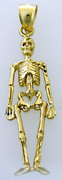 14kt gold skeleton pirate charm