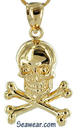 solid gold skull and crossbones pirate necklace pendant