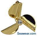 14kt small cleaver propeller with .16ct diamond