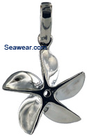 small five bladed propeller necklace penant in white gold