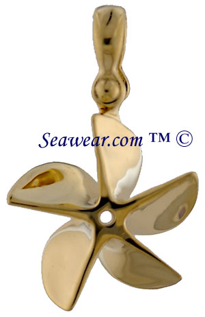 Propeller jewelry 14kt five blade chopper propeller necklace jewelry charm mozeypictures Gallery