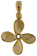small 14kt gold four blade displacement propller jewelry necklace charm
