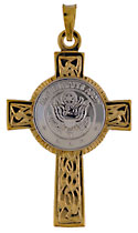 14kt white and yellow United States Army Celtic Cross