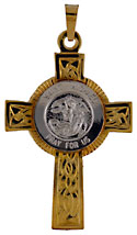 St Michael Patrol Saint medal in 14kt white gold with 14kt yellow gold Celtic Cross
