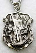 silver saint michaels badge medal