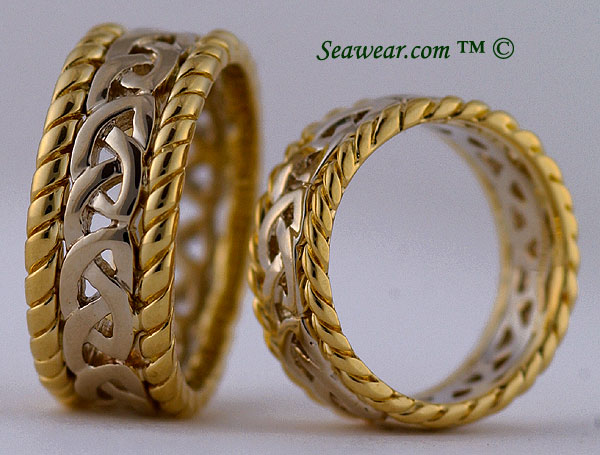profiles of Celtic love knot sailor rings