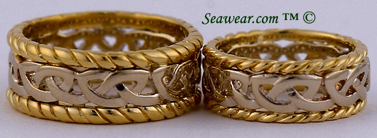 Celti sailor wedding rings in 9mm and 7.5mm