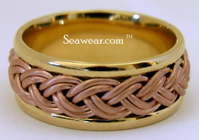 18kt sunrise yellow with rose braid wedding ring