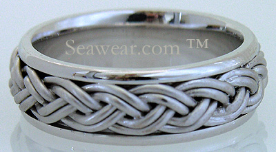 14kt white satin braid on 14kt white high polish ring