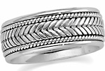 white gold braided comfort fit wedding band