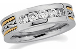 1/2ct diamond hand woven two tone wedding band set