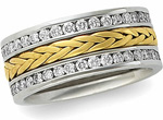two tone diamond hand braded enternity ring