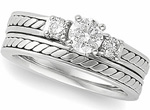 white gold hand braided three diamond wedding set