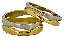 14kt two tone Following Seas wedding bands