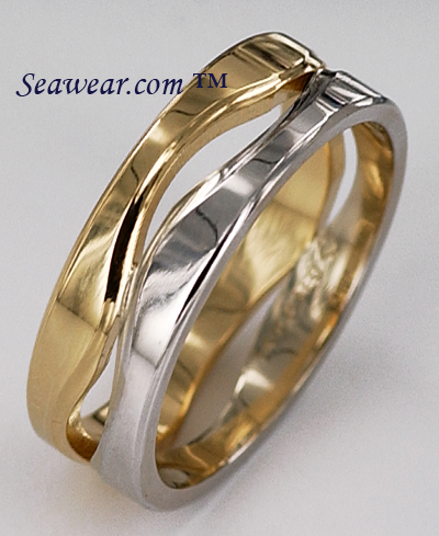 14kt two tone 7mm Following Seas wedding band