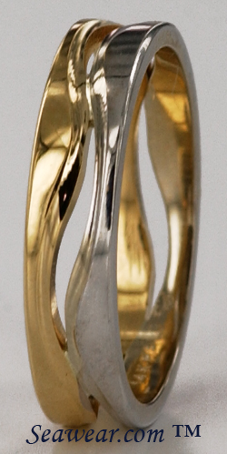 5mm two tone 14kt Following Seas wedding band