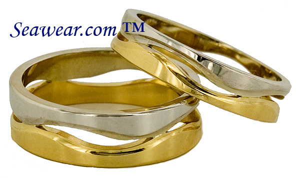 two tone gold following sea waves ring