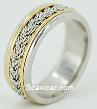 special 8mm two strand braid platinum and 18kt gold band