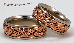 Catalina Sunset hand braided wedding bands