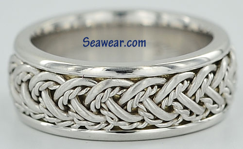 lifemates all white hand woven wedding band