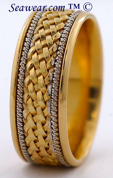 14kt gold hand braided wedding ring