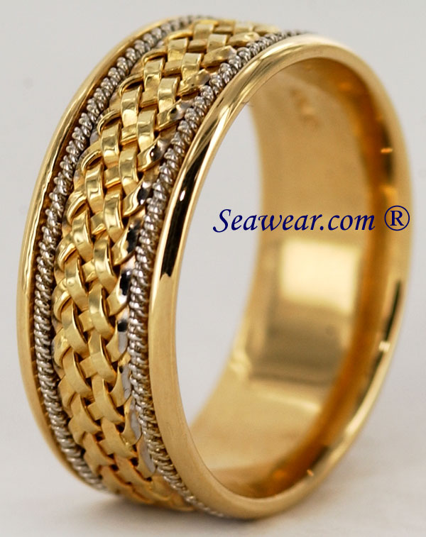 14kt gold comfort fit size 12 hand woven wedding ring