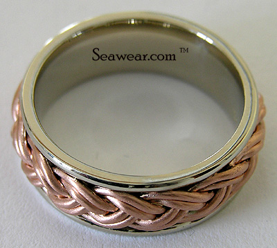 rose weave white gold wedding band