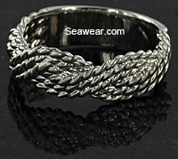 6mm white gold cast braided turks head ring