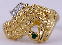 14kt seahorse diamond and emerald ring