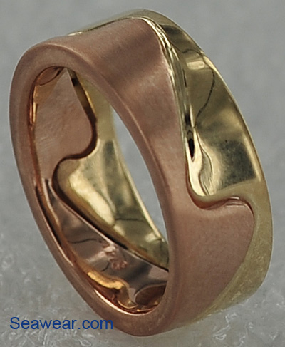 rose gold yellow gold wave ring